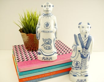 Vintage Blue and White Chinoiserie Statues, Asian Figurines, Animal Monkey Goat Figures, Chinese Art, Vintage Hollywood Regency Statues
