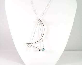 Sterling Silver Turquoise Freeform Pendant