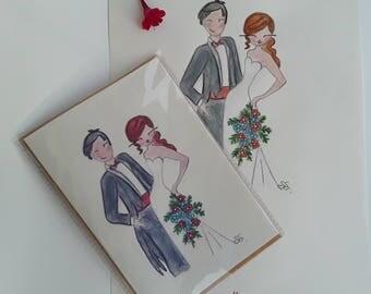 Biglietto per matrimonio,nozze ,wedding ,carta da lettera ,greeting card ,sposi,love biglietti