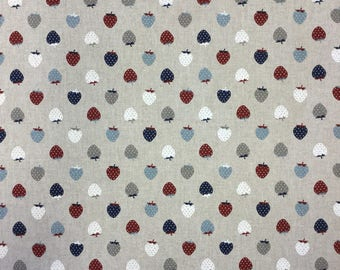 Strawberries multicoloured print on linen effect cotton by the metre