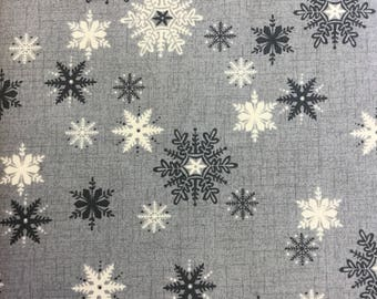 Makeower 1594 Scandi 3 Snowflakes in Grey 100% Cotton Fabric by the Half Metre