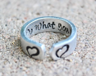 Do What You Love Mantra Ring, Do What You Love, Adjustable Ring, Hand Stamped Hearts Ring, Mantra Ring, Do what you love adjustable ring