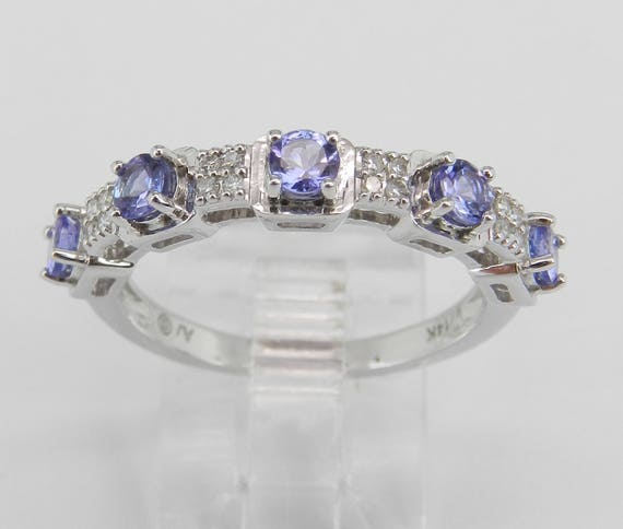 Diamond and Tanzanite Wedding Ring Stackable Anniversary Band 14K White Gold Size 7