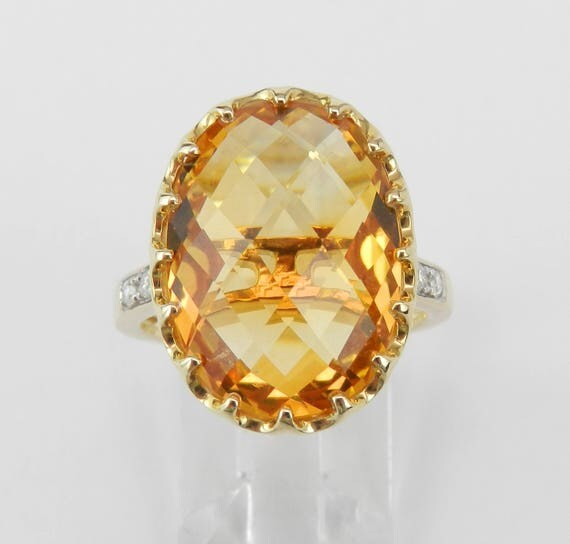 14K Yellow Gold Diamond and Citrine Cocktail Engagement Ring Size 7 November Birthstone