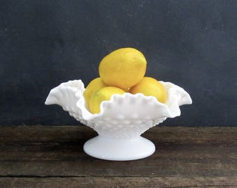 "Fenton 8"" Double Ruffle Milk Glass Footed Bowl, Fenton Hobnail Bowl"