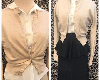 50's Vintage Beige Camel Tan Moores Label 100 % Cashmere sweater girl pin up rockabilly