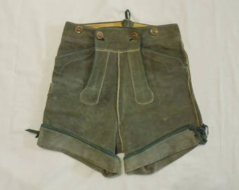 Vintage Bergfreund German Green Suede Leather Lederhosen Shorts Boys Size 12