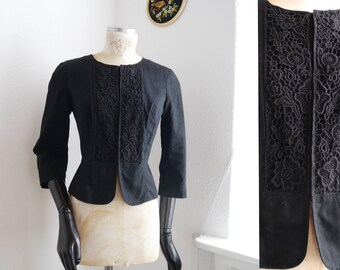 Black jacket with floral lace hooks and loops short tailored victorian style Light cotton cropped jacket M