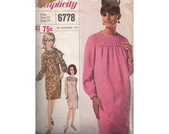 SALE! 1960s Tapered Shift Dress Simplicity 6778 High Smocked Yoke Optional Necklines B34 **Sleeveless Option Only Vintage Sewing Pattern