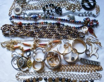Destash Mostly Vintage Jewelry over 2 pounds  Parts Pieces Wearable Chain Belts