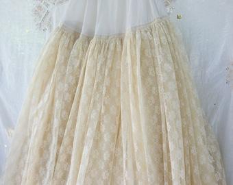 Amazing Satin & Lace ~ Skirt/Slip MAXI  ~ Full Length ~ Romantic Chic ~ Vintage Farmhouse /Cottage Wedding ~ Reenactment / Theater Wardrobe