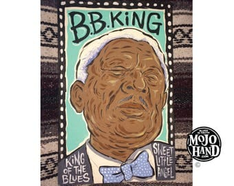 BB King blues folk art painting on wood by Grego of mojohand.com - outsider art