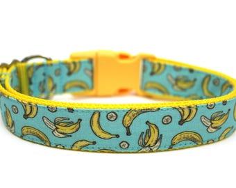 """Banana Dog Collar 3/4"""" or 1"""" Boy Dog Collar Bananas Dog Collar Fun Dog Collar"""