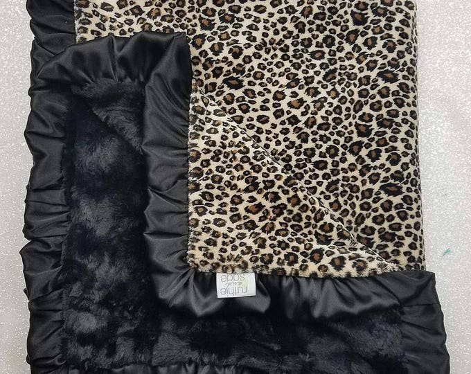 Minky Blanket, Arctic Snow Leopard print, cheetah minky, black and tan, ruffle blanket, Faux fur blanket, animal print, warm tones, fluffy