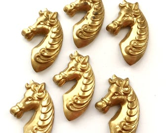 Brass Zebra Head, Horse Profile, Cowboy Jewelry, Jewelry Making, Vintage, Raw Patina Brass,  B'sue Boutiques, Nickel Free, US made, 03234