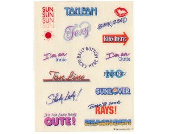 Vintage 80's HALLMARK Stickers Sheet ~ Sun TAN FAN Beach Tanning Body Lips Kiss Summer