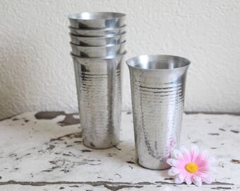 Vintage Hammered Aluminum Tumblers, Set of 6, Made in Italy, 1950s