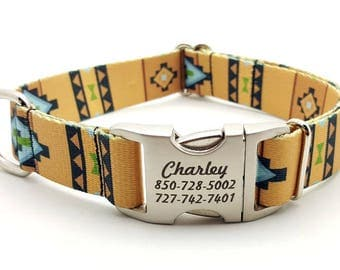 NATIVE SOUTHWESTERN Polyester Webbing Dog Collar with Laser Engraved Personalized Buckle