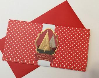 Handmade, Christmas Money Card, Red and White Polka Dots, White Band, Christmas Tree Embellishment, Big Polka Dots Inside