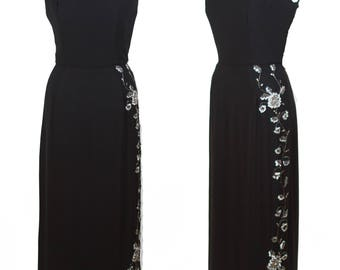 1950s Dress // Beaded Sequin and Rhinestones  Black Full Length Evening Gown
