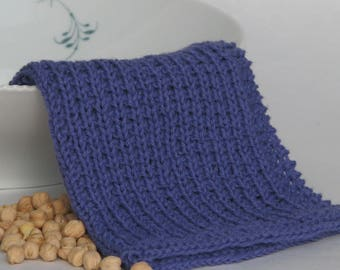 Hand knitted dish cloth wash cloth - soft cotton iris blue