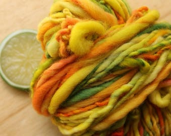 Leaves - Bulky Handspun Superwash Wool Yarn Yellow Orange Green