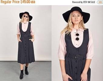 FLASH SALE 80s Black Belted Jumper Vintage Polka Dot Jumper Dress