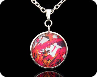 Geological necklace - Gift for Geologist - Piemontite from St Marcel, Italy rock thin section Pendant (P44) - Geology Jewellery - Pendant