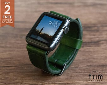 Apple Watch Leather Band Watch Band in Forest Green Color for Series 1 2 3 [Handmade] [Custom Colors]