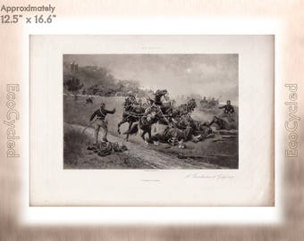 A Recollection of Gettysburg by William H Shelton Antique Photogravure Print Goupil Vintage Paper Ephemera zyxG21