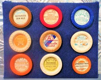 Vintage milk bottle caps,vintage milk lids, collection, kitchen art, ephemera