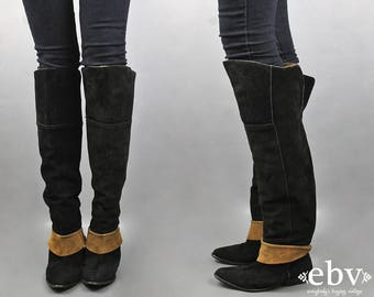 OTK Boots Black Leather Boots Brown Leather Boots Suede Boots Thigh High Boots Over the Knee Boots Black Boots 7.5 7 1/2 Vintage 80s Boots