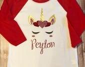 Unicorn Valentine Tee, Girls Valentine Red Baseball Sleeve Tee, Unicorn Shirt, Valentine Shirt, Valentine Party Shirt, Personalized Tee