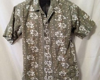 "BIG SUMMER SALE 80s Vintage Hawaiian Hawaii Aloha Style Man Shirt-Beach Casual Resort-Large-Lands End-42"" Chest-Medium-Hipster Boho"