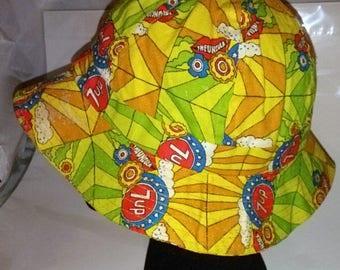 BIG SUMMER SALE 70s Vintage 7up Collectors Cloth Fishing-Sunhat-Short Brim-Beach Hat-58cm-Medium-Resort Mod