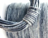 1.5mm Round Leather cord - Vintage Montana Blue, Distressed, Dark Blue New Color - 10 feet, LC057
