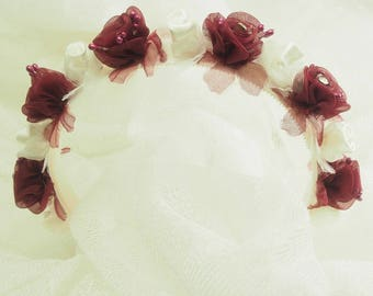 Organza Burgundy Flower Head Band