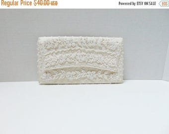 SALE Vintage Clutch Handbag 50s Ivory White Floral Beaded Clutch Purse Satin Lining Handmade in Hong Kong