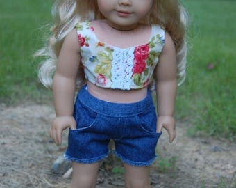 SALE-2 piece-fits American Girl Doll clothes/18 inch doll clothes/2-piece outfit/denim shorts/doll shirt/doll shorts/crop top/Country Girl