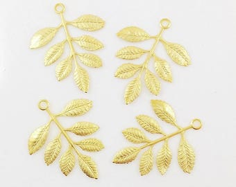 Gold Leaves, Brass Leaves, Leaf Stamping, Brass Drop, Earring Dangle, 38mm x 30mm - 4 pcs. (gd328)