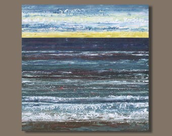 FREE SHIP large abstract painting, sunrise ocean painting, landscape painting, seascape, Atlantic blue, green grey, abstract ocean wall art