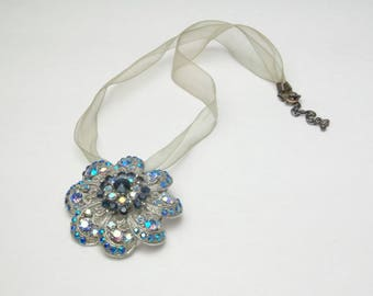 Vintage 1950's Statement Necklace Sapphire Blue Sky Blue Aurora Borealis Rhinestone Flower Pendant Brooch Hollywood Glamour Costume Jewelry