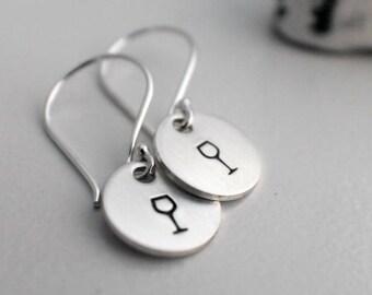 Wine Glass Earrings - Hand Stamped Earrings - Wine Glass Stamped Earrings - Wine Dangle Earrings - Sterling Silver Earrings Gifts under 25