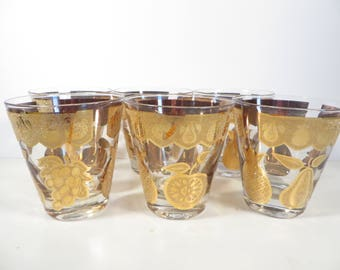 Mid Century Set of 6 Gold Culver Old Fashioned Glasses - Florentine Gold Fruit Cocktail Glasses
