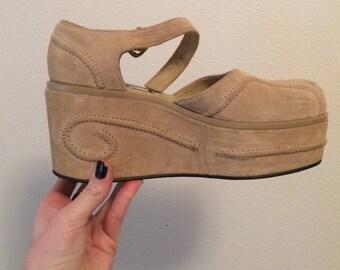 Vintage 90s does 70s Platform Wedge Sandals Size 7, 90s Chunky Sandals / Rare beige Zodiac Platform shoes /