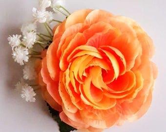 Coral ranunculus haircomb. Flower boho fascinator. Romantic flowergirl bridesmaid raceday teaparty