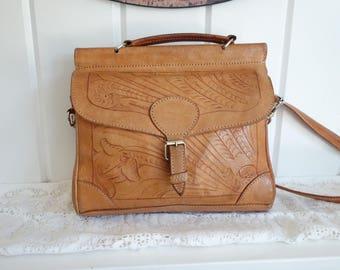 Vintage RARE Paraguay Force Ten West Saddle Tan HAND TOOLED Leather Bag Southwestern Shoulder Cross Body Messenger Satchel