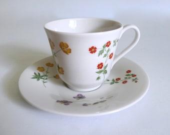 Vintage English Tea Cup and Saucer Royal Doulton - Springtime Pattern - Floyd Jones Vintage