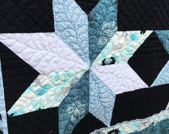 Feathered Stars Quilted Wall Hanging, Square Wall Hanging, Blue Black Wall Art