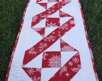 Quilted Christmas Table Runner Extra Long, Red and White Quilt